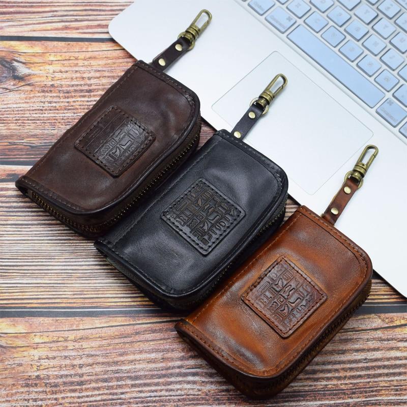 2020 Genuine Cow Leather Key Wallet Men Women Vintage Handmade Zipper Short Car Key Card Holder Home Keys Organizer Housekeeper
