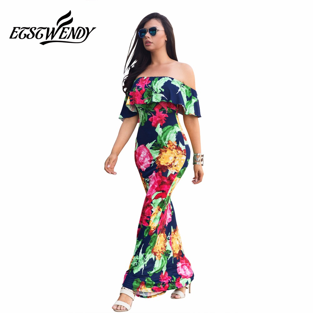 Fashion Ruffles Women Sexy Dresses Summer Casual Short Sleeve Slash Neck Printed Maxi Long Dress Bohemian Party Dress Vestidos