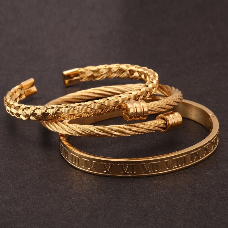 Mcllroy 3 pièces/ensemble de luxe en or/argent en acier inoxydable 316L bracelet tressage Bracelets ouverture poignet Bracelets pour hommes bijoux cadeaux