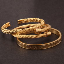 Mcllroy 3pcs/set Luxury Gold/Silver 316L Stainless Steel Wristband Braiding Bangles Opening Cuff Bracelets For Men Jewelry Gifts