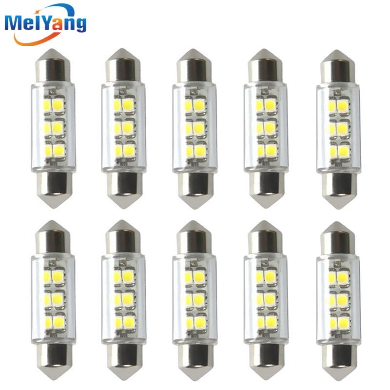 10шт 12 вольт постоянного тока светодиодные лампы светодиодные с c5w 39мм 6 SMD чисто Белый купол Фестона Интерио 0.25 W вело свет автомобиля Лампа внутреннего освещения