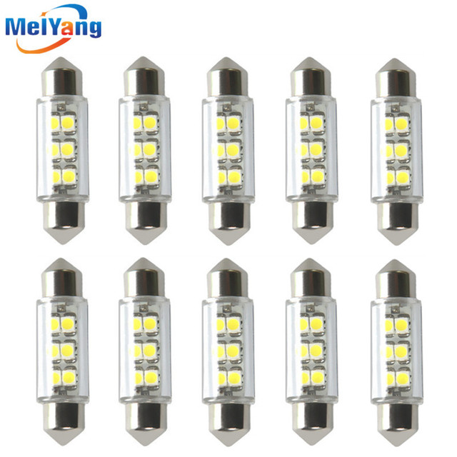 10pcs 12 volt dc led bulbs c5w led 39mm 6 SMD Pure...