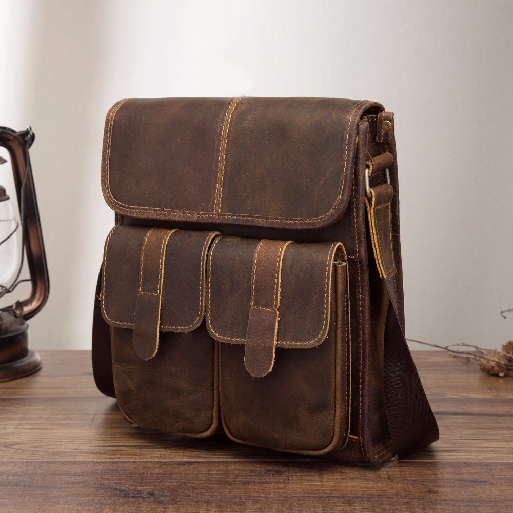 Real Leather Male Design One Shoulder Messenger Bag Cowhide Fashion Cross-body Bag 10