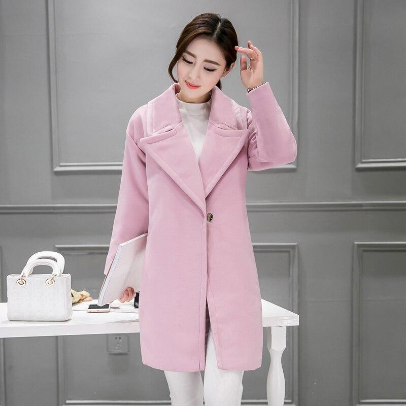 Solide De Plus Pardessus Mode Taille Pink Femmes Lâche gray Laine Coréenne Manteau Couleur Grande Tweed Vêtements Ol Long Tissu Automne Manteaux Hiver HH8aUq