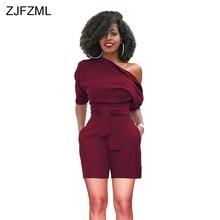 ZJFZML Solid Plus Size Rompers Womens Jumpsuit 2018 One Shoulder Short Sleeve Piece Playsuit Elegant Sashes Bodysuits