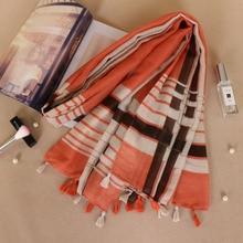 77db5530f5e6 Imprimé bande motif foulards de mode musulman hijab viscose gland châles  écharpe souple mulffer 5 pcs lot LS354