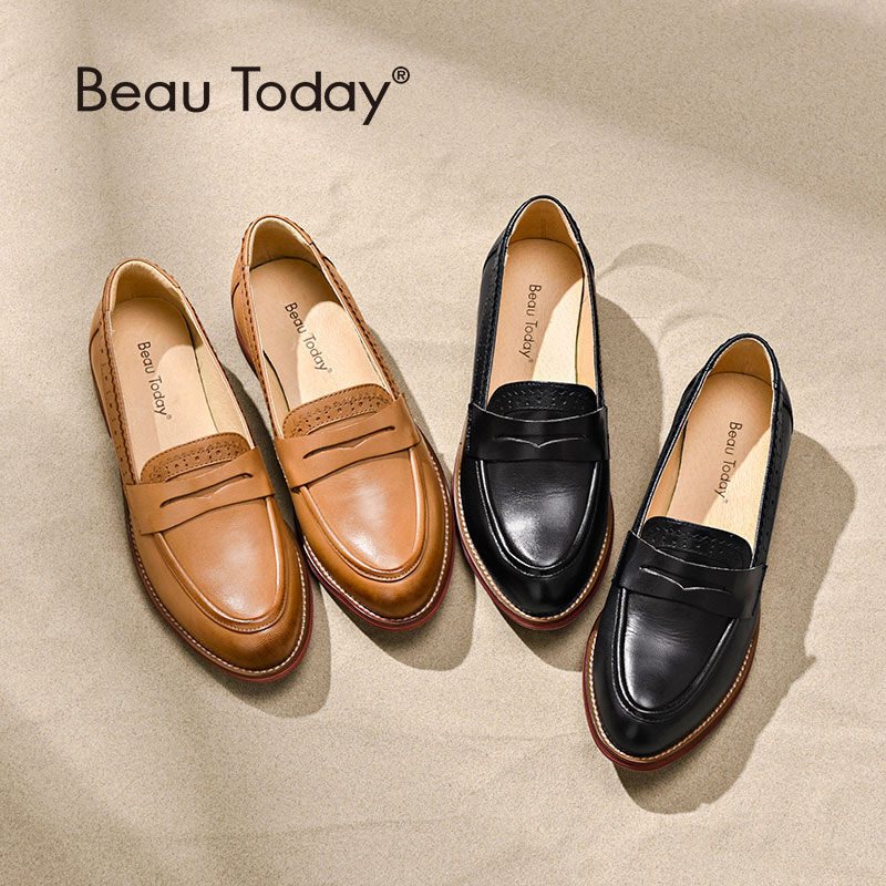 BeauToday Penny Loafers Women Sheepskin Moccasin Äkta Läder Slip On Pointed Toe Flats Plus Storlek Skor Handgjorda 27013