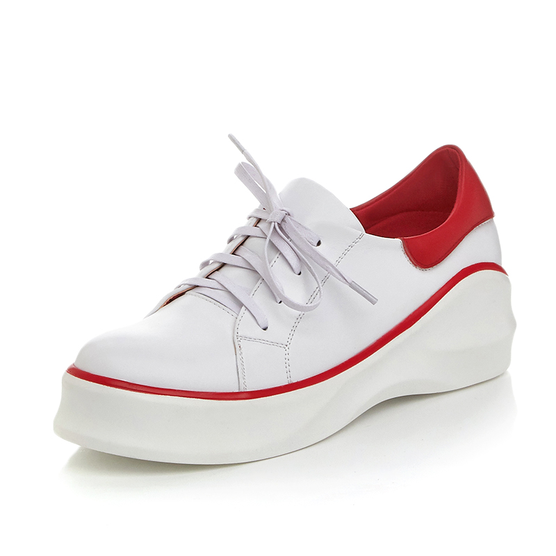 2017 New British Women Platform Casual Shoes Genuine Leather Flats Shoes loafers Lace up Round Toe Luxury Brand White Creepers new women shoes fashion genuine leather spring autumn casual shoes lace up loafers shoes heavy bottomed platform white shoes