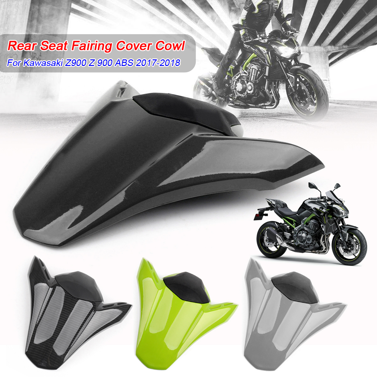 Motor Seat Cowl Rear ABS Rear Motorcycle Seat Fairing Cover Tail Cowl Fairing Seat Cover Fits for Kawasaki 2017 2018 Z900 Z 900