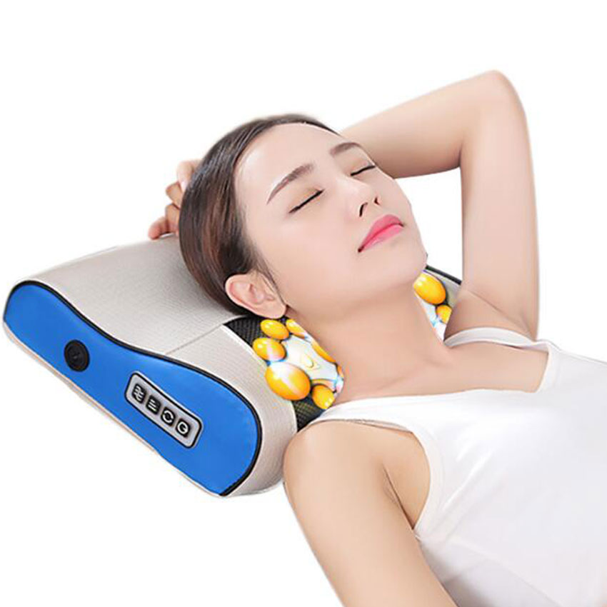 AMKEE Massage Pillow Infrared Heating Neck Shoulder Back Body Massager Multifunction Electric Cervical Household Kneading Device kneading massage shawl neck cervical body massager multifunctional home car heating shoulder massage device
