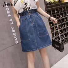 Jeans Skirt Pockets Harajuku Plus-Size Women Simple Jielur Denim Jupe Elastic Loose S-5XL