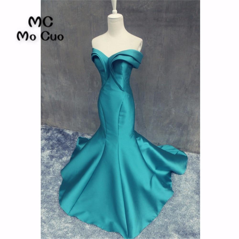Popular 2019 New Teal Prom   dresses   Long Pleat Draped Satin Vestidos de fiesta Sweep Train Formal   Evening     Dress   for Women