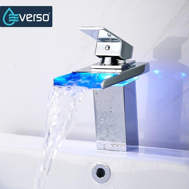 EVERSO Temperature Sensor LED Faucet Wide Flowing Water Basin Faucet ...