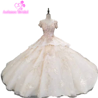 Fashion Styles Trees Styles Luxury Bridal Dress Ball Gown Tulle Corset Back Bling Luxury 3d Flower