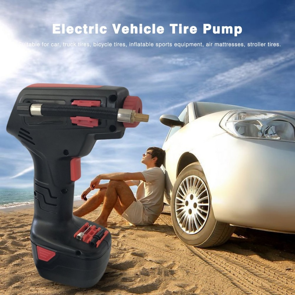 Portable Rechargeable EU Plug Handheld Electric Bike Vehicle Car Tire Inflatable Pump Wireless Air Pump Emergency Inflator Hot new arrival 12v 4800pa ac car electric air pump for camping airbed boat toy inflator