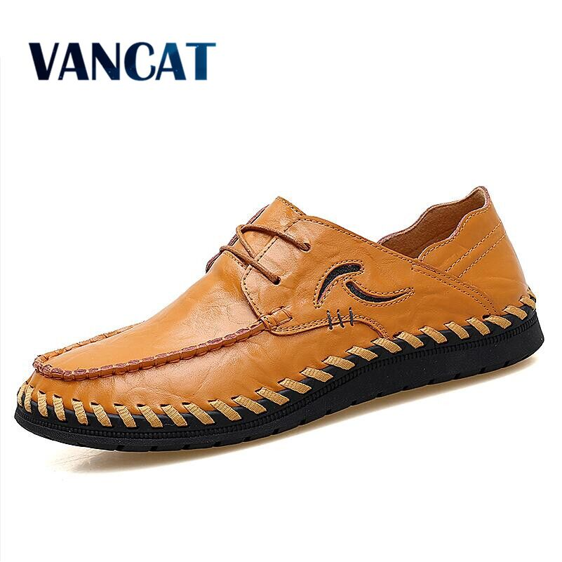 VANCAT New Spring Autumn Lace-Up Mens Loafers Fashion Breathable Men Flats Genuine Leather Shoes Designers Moccasins Men Shoes spring autumn fashion men high top shoes genuine leather breathable casual shoes male loafers youth sneakers flats 3a