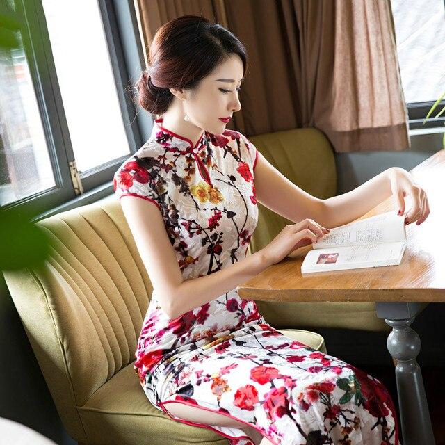 2cbb48b1efa3 High Quality Velvet Cheongsam Dress Printing Chinese modified Retro Dress  code folk style With Plus Size