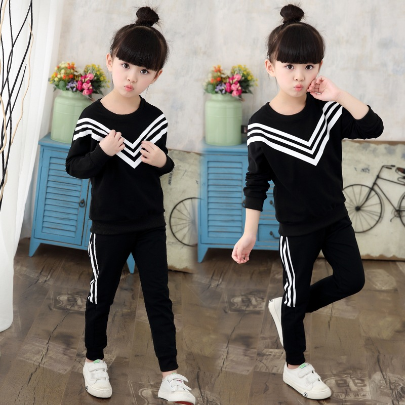 New Girls Sets 2018 Spring Autumn Baby Girls Clothing Sports Sweater +Pants 2Pcs Sets Suit Children Girls Clothing Sets for 3-9Y autumn winter girls children sets clothing long sleeve o neck pullover cartoon dog sweater short pant suit sets for cute girls