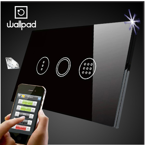 Wallpad 118 US AU Crystal Glass Black Wifi Time Delay Switch,Wireless Remote control wall Timmer touch switch,Free Shipping