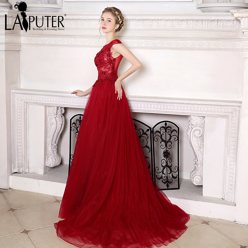 Robe De Soiree Burgundy Evening Dress Wine Red Cheap Prom Dresses