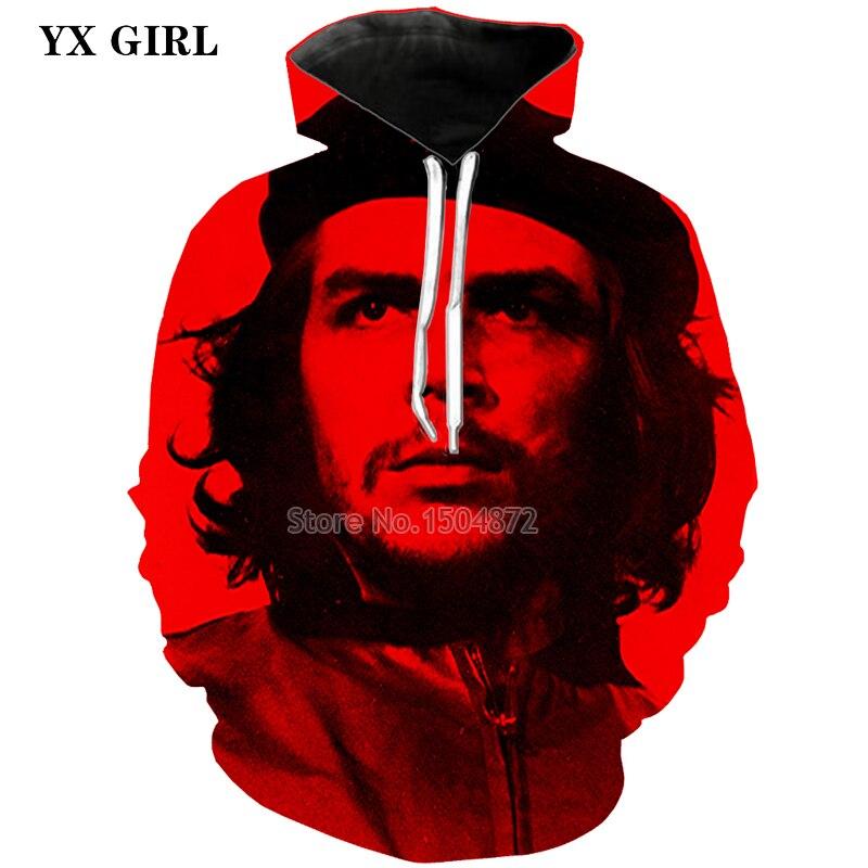 Новый мужской моды 3D печатных Че Гевара Толстовка для Для мужчин осень с капюшоном карман толстовка высокое качество пуловеры толстовки То...