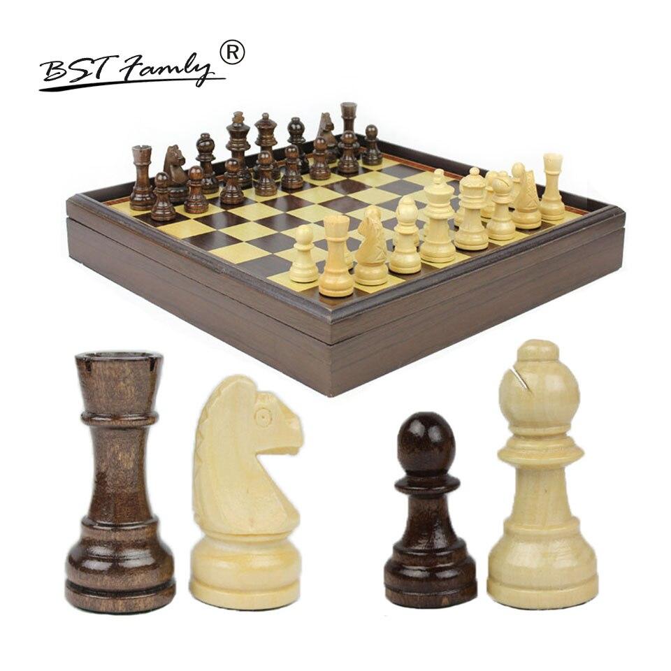 BSTFAMLY Wood Chess Set Game of International Chess Chessman 31*31*5.3cm Box Chessboard Chess Game King Height 6.2cm I23 bstfamly carving wooden chess set game portable game of international chess folding chessboard wood chess pieces chessman i13