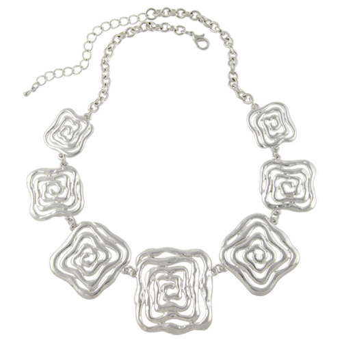 Shineland 2017 New Arrival Choker Necklace Fashion Women Silver Color Flower Chunky Chains Statement Necklace Ethnic Jewelry