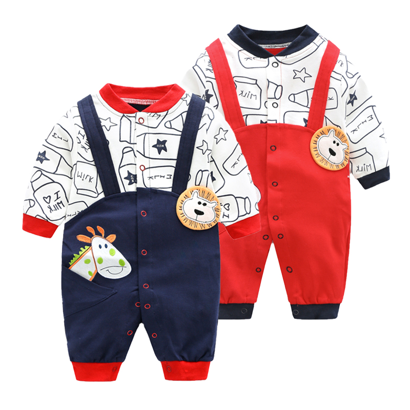 2019 Newborn Baby Boy Girls Clothes Spring Autumn Long Sleeve Cartoon   Rompers   0-1y Baby Cotton Climbing Animal Costumes Jumpsuit