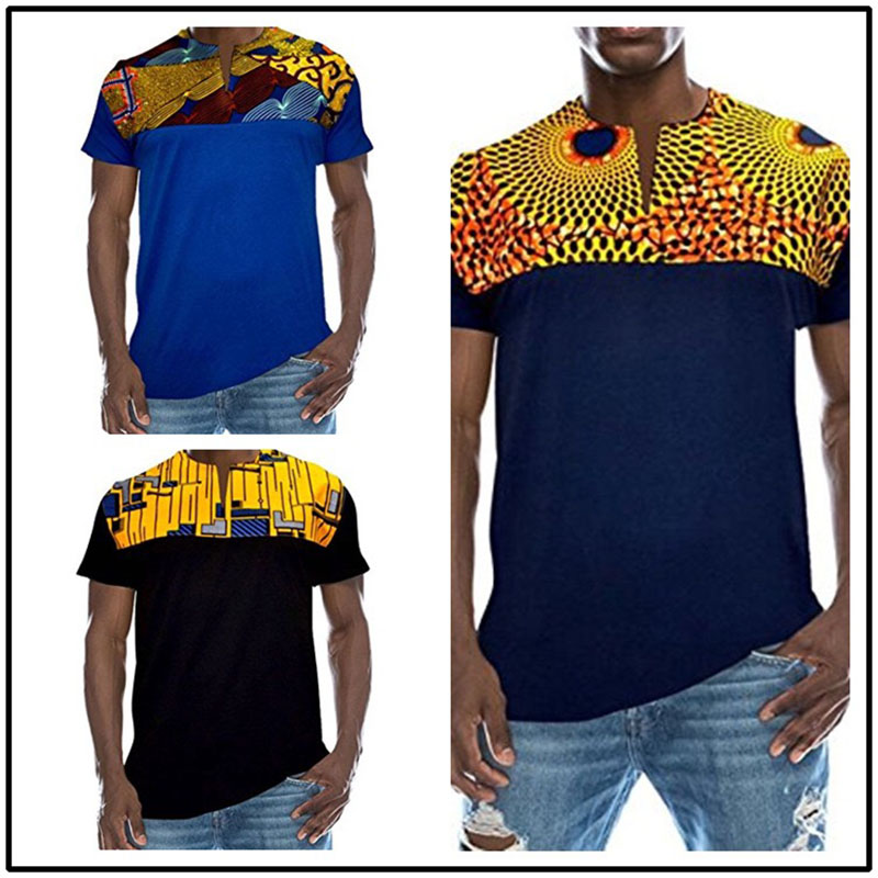 53df445f67e0 Aliexpress.com   Buy 3 Color African Men Summer Dashiki Print Hippie Cool T  shirt Short Sleeves Top Slit Neck Round Collar Slim Top For Men Plus Size  from ...