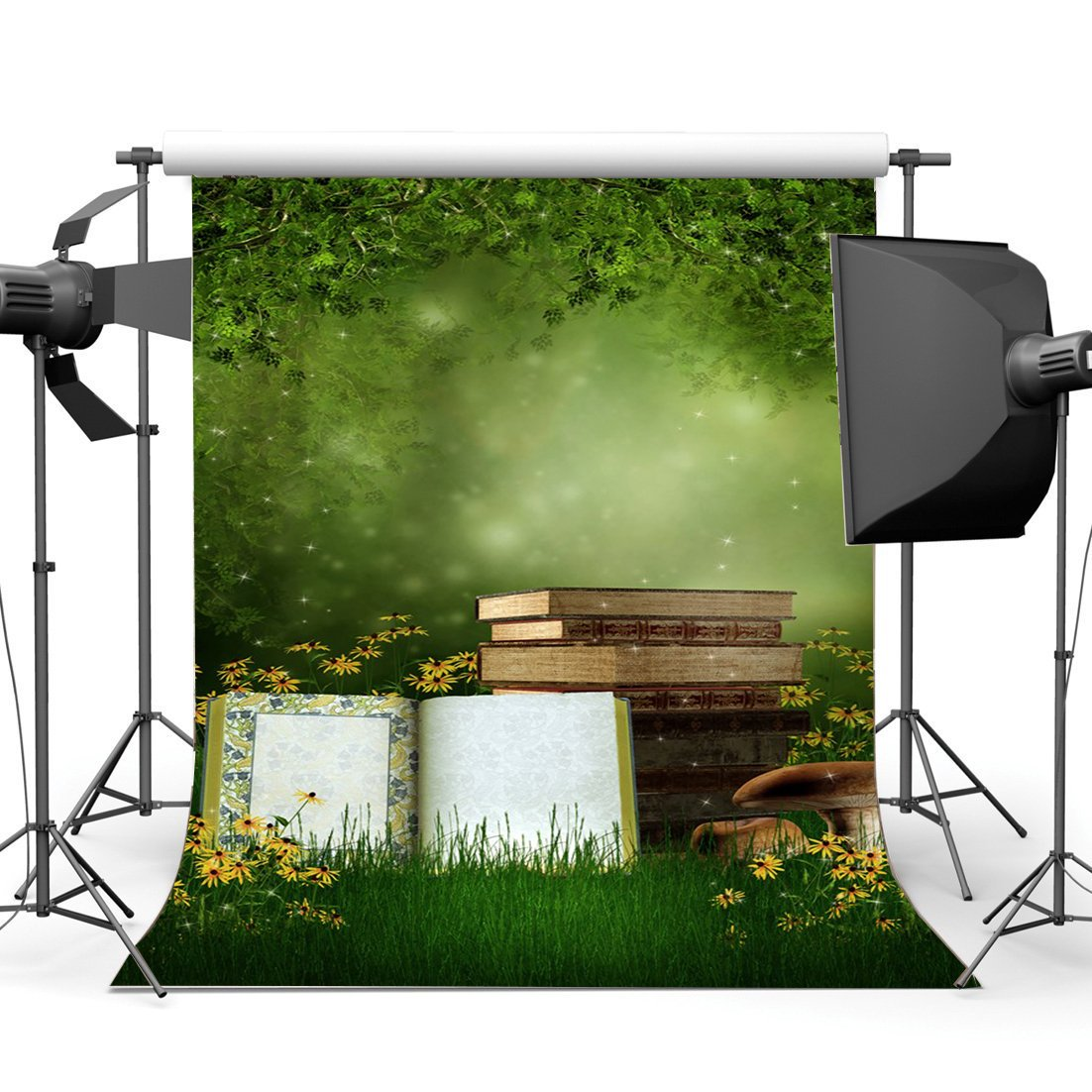Photography Backdrop Dreamy World Fairy Tale Jungle Forest Blooming Flowers Grass Field Bokeh Magic Background-in Photo Studio Accessories from Consumer Electronics