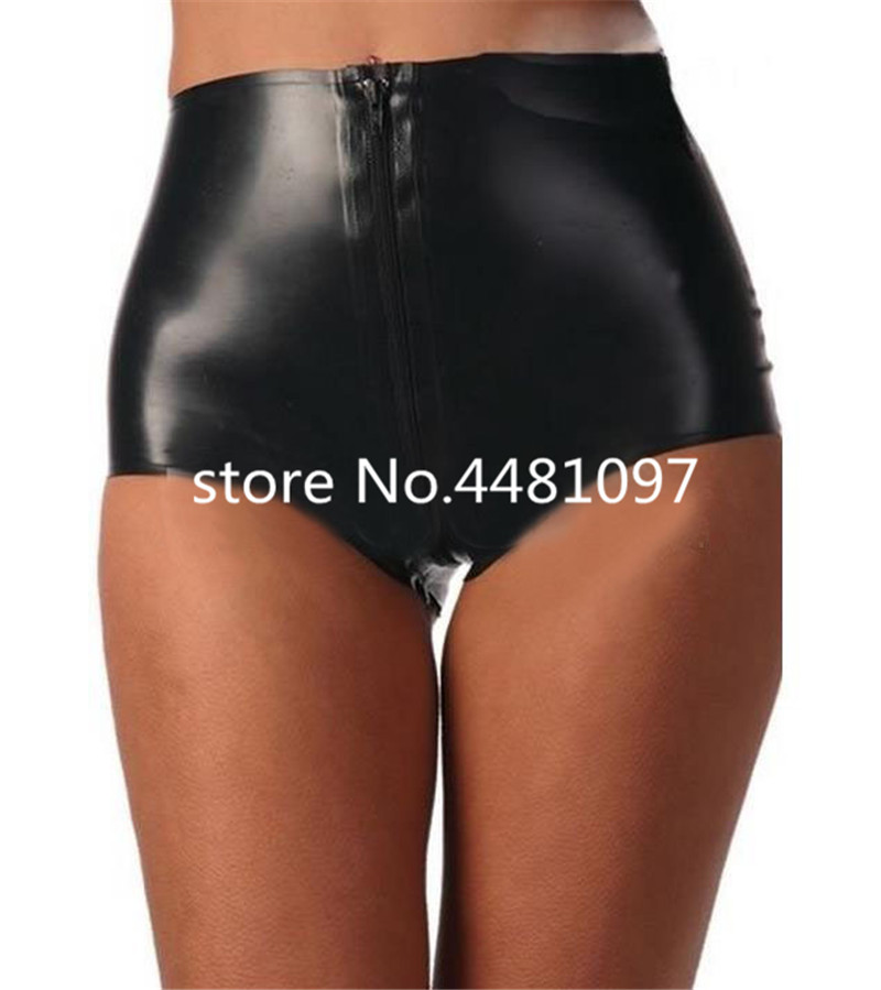 Latex Boxer Rubber Boyshort Sexy Women s Latex Lingerie Crotch Zip Customized open crotch chastity panties