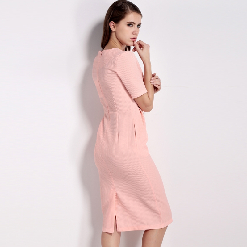 HDY Haoduoyi 2017 New Fashion Women Bodycon Dress Summer Solid Pink Short Sleeve Female Dress O Neck Cute Sexy Empire Dress 7