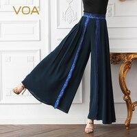 VOA тяжелый шелк офисные Широкие штаны Для женщин длинные брюки плюс Размеры 5XL Высокая Талия Palazzo Брюки Основные Темно синие Лето K619