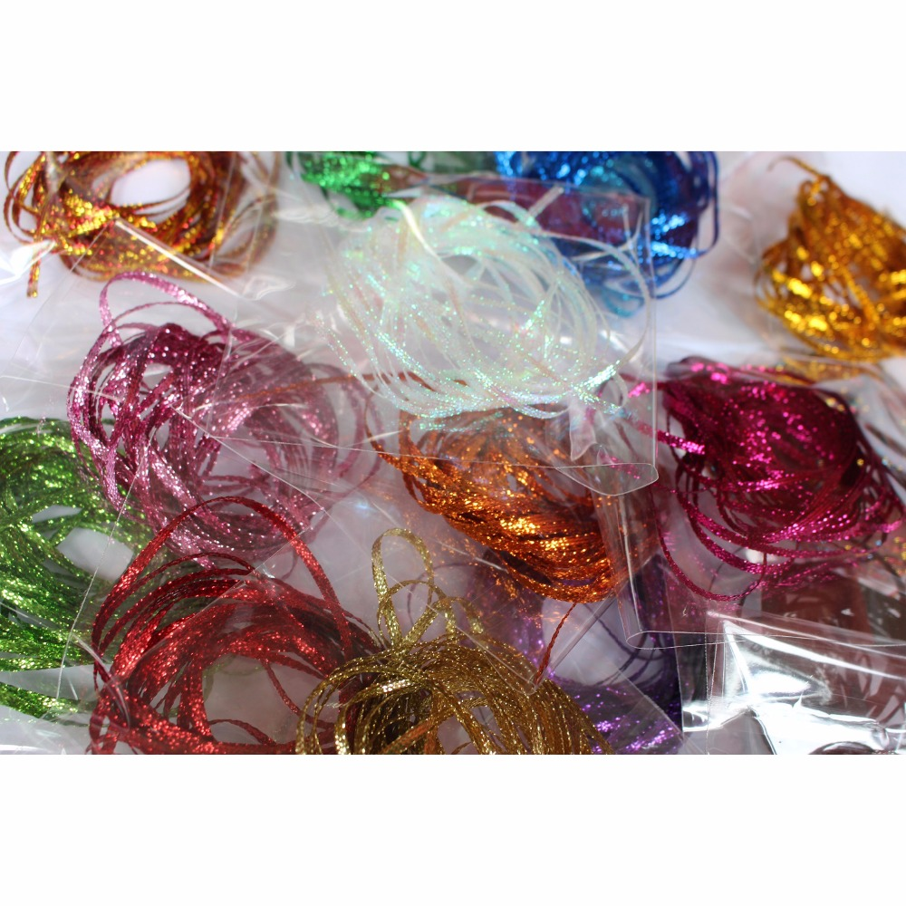 Tigofly 15 Packs Colors Flat Braided Lace Line 3mm Pearlescent Tones Emerger Streamer Rib Body Saltwater Fly Tying Materials