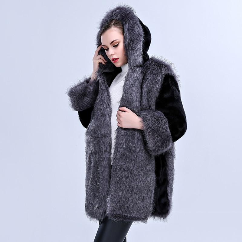 2019 zima nový příjezd ženy umělá kožešina kabát s vysokou - Dámské oblečení