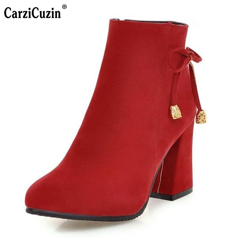 f49e4ccfaef628 Épais Beige Pointu 33 Taille Mode Chaussures Bottes rouge Femmes Parti  Marque noir Bout 42 Mujer ...