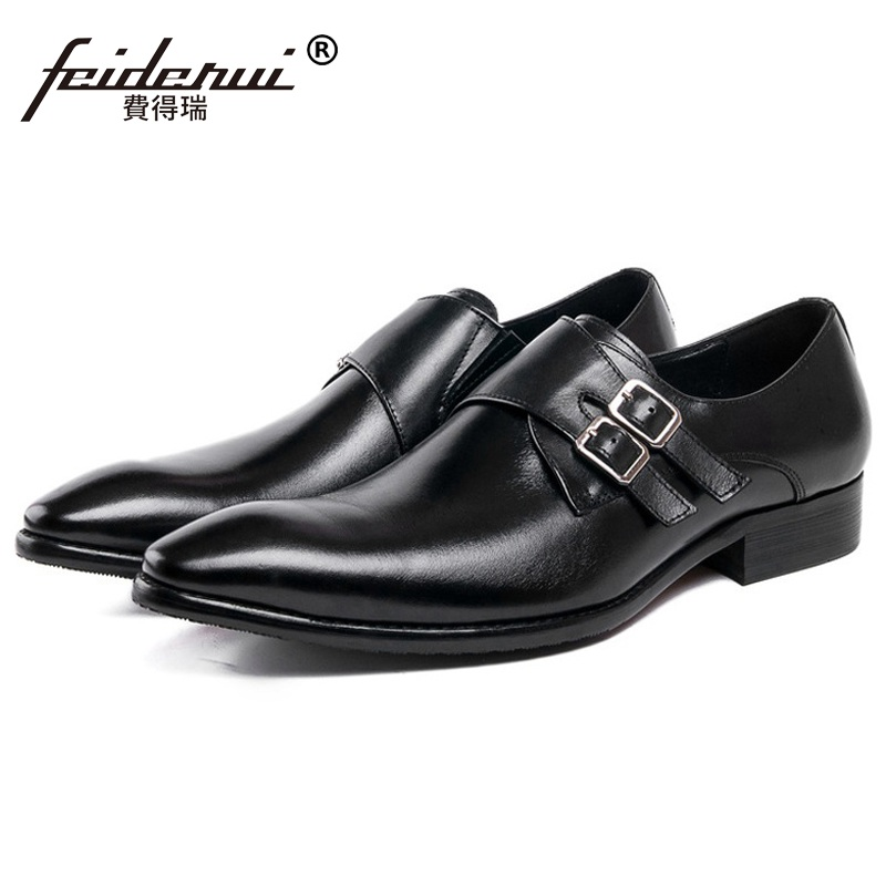 New Arrival Man Formal Dress Monk Strap Shoes Genuine Leather Male Office Oxfords Pointed Toe Men's Wedding Bridal Flats VK98 2016 new fashion genuine leather formal brand man print oxfords men s derby pointed toe monk strap dress rubber shoes glm589