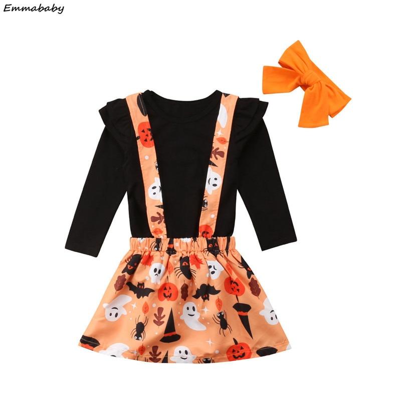 Fashion Halloween Kids Baby Girls Long Sleeve Black Tshirt Tops Overalls Skirts Headband 2018 Festival Outfits Children's Sets