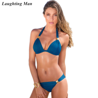 Laughting Man Sexy Brazilian Bikinis Push Up Biquini Women Swimsuit Halter Straps Beach Bathing Suit Swimwear