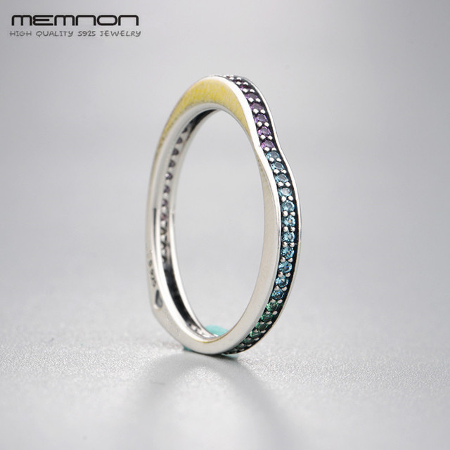 Memnon Glorius Blooms Enchanted Crown Multi-colour Arc of Love Rings for women 925 sterling fine silver jewelry ring RIP0161