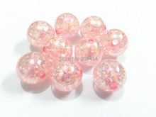 (Choose Size First) 12mm/16mm/ 20mm  Pink  Crack Beads With AB Effect ,Chunky  Beads For Kids Necklace