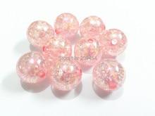 (Escolha o tamanho primeiro) 12mm/16mm/20mm rosa contas de crack com efeito ab, grânulos grossos para crianças colar