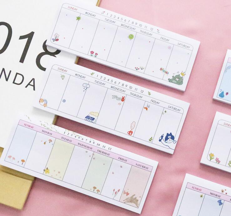 Simple Week Schedule Marker Sticky Notes Self-Adhesive Memo Pad Daily Notepads #011 School Supply Bookmark Post it Label