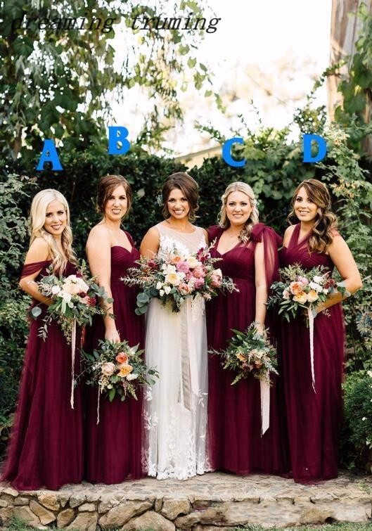 4 Style Burgundy   Bridesmaid     Dresses   2019 Maxi Women Custom Made A Line Backless Wedding Guest Party Gowns Plus Size