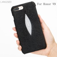 For Huawei Honor V9 Genuine Leather Natural Pearl Fish 360 Half Inclusive Phone Case For Honor7