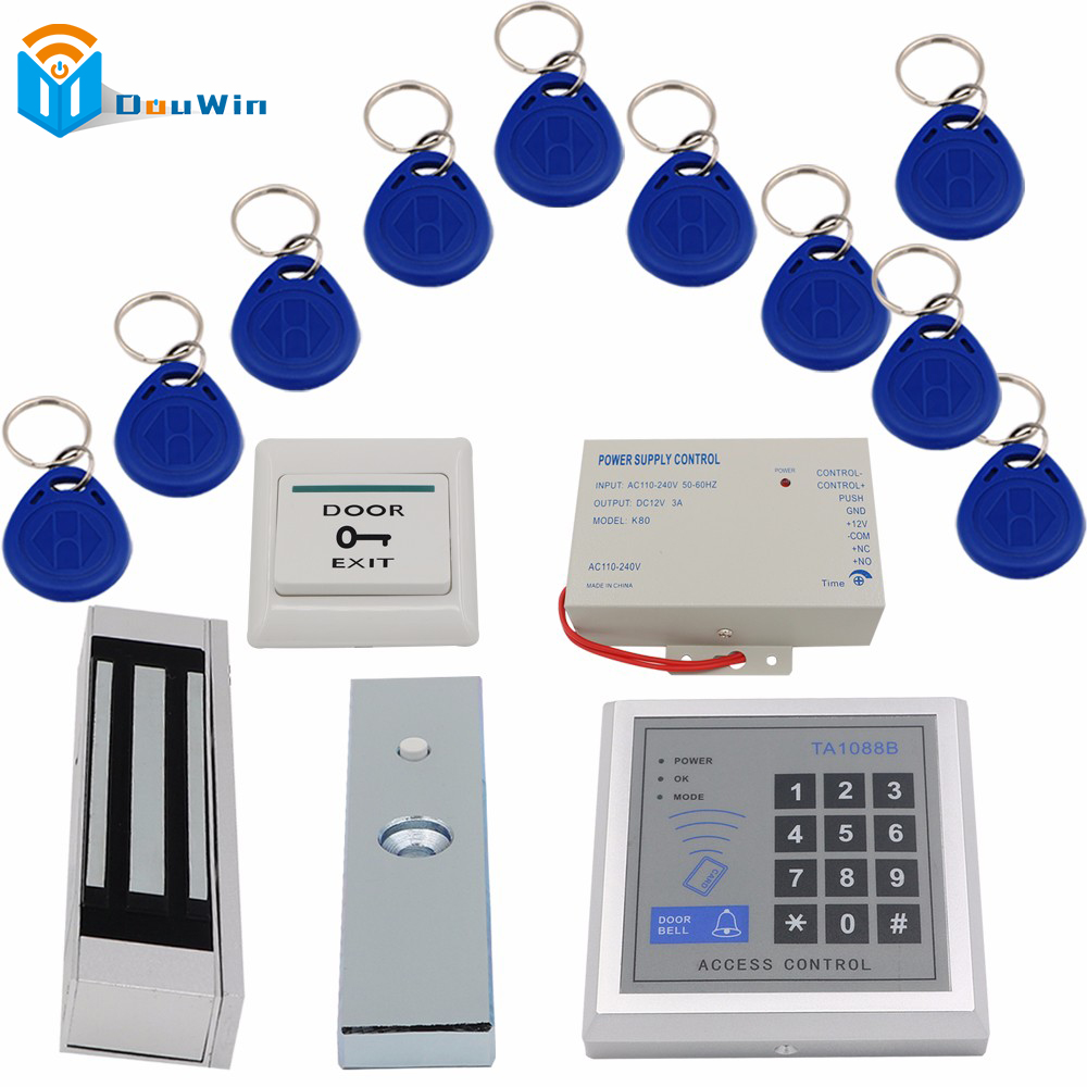 Access Control rfid System 1set 180kg Electric Magnetic Lock 10Pcs FOB Keys+1 pcs Card Reader+Power supply+Door exit switch hot selling full complete rfid door lock access control system power supply electric magnetic lock door exit button bell keys