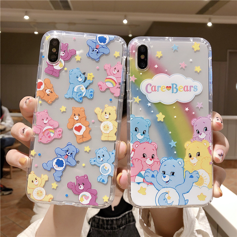 Cartoon Cute Rainbow Bear Phone Case For Iphone 11 Pro X XS Max Xr 8 7 6 S Plus INS Anime Cares Bears Clear Soft Cover Coque