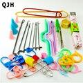 Casa diy tejer marca de herramientas conjunto de pestillo ganchillo aguja curva marcos mano crochet knitting needles weave accesorios con caja de la caja