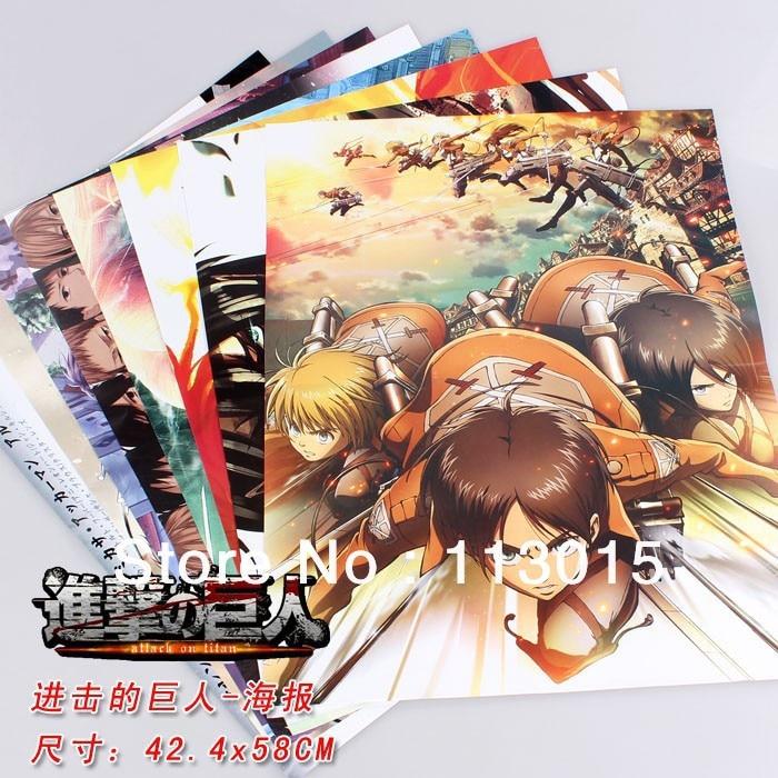 대륙간 탄도탄 포스터 공격 8pcs / lot Anime 포스터 빅 - 장난감 피규어