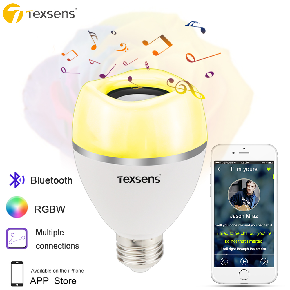 US $28 25 |Texsens Multiple Connected LED Music Bulbs 8W RGBW E27/E26  Wireless Bluetooth Speaker Bulb Music Playing APP Control-in LED Bulbs &  Tubes